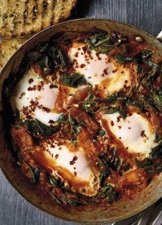 Nadiya Hussain S Smoky Spinach Shakshuka Food Vegetarian