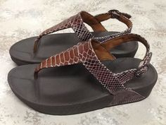 Fitflop Women's Brown Leather Snakeskin Print Slingback Thong Sandals Size 8/ 39 #FitFlop #FlipFlops #Casual