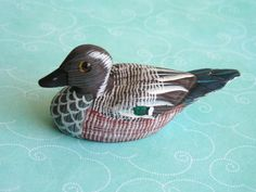 Vintage Hand Carved Miniature Wooden Duck Decoy by retrosideshow, $29.00
