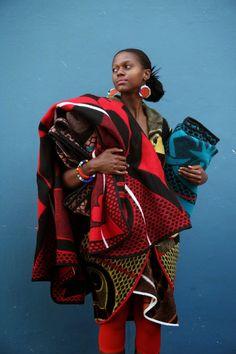 Photographer Niel Vosloo, Model Sibu Jili, Dress by Thabo Makhetha,Blankets available from Shnu Tribal & Basotho Blankets