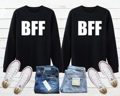 ✔ Couple Gifts For Him Christmas Bff Sweatshirts, Friends Sweatshirt, Bff Shirts, Couple Shirts, Best Friend Hoodies, Hipster Couple, Preschool Shirts, Custom Made Shirts, Matching Couples