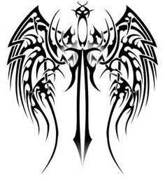 spine tattoo sword | tribal wing tattoos - tips for new tattoo