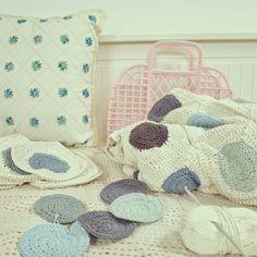 ByHaafner, crochet, dotted blanket, blue hues, pastel,
