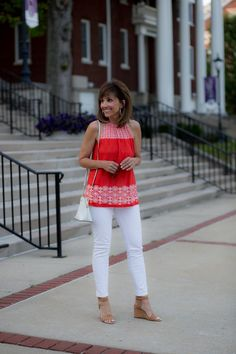 This halter top paired with white jeans make a great outfit for summer! Pair the shirt with blue jeans or blue shorts for a cute fourth of July style!