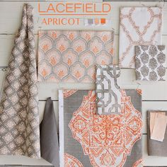 Textile Tuesday: Introducing the new Apricot colorway from Lacefield .  A fresh take on a traditional pastel orange, Apricot mixes bea...
