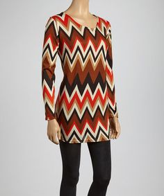 MORE icky prints from the 70's! why would someone bring them back?!  #zulilyfind! Brown & Red Zigzag Scoop Neck Tunic #zulilyfinds