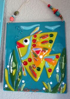 Beach Decor Angel Fish Fused Glass Art Plaque by jodysart on Etsy