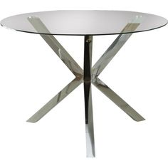 Featuring shiny chrome finish at the table base and a clear, round-tempered glass top, this modernized dining table is a sleek choice for an up-to-date kitchen or dining area. Featuring tempered glass built five times stronger, the table is suitable to withstand heavy usage as the primary spot for daily meals and any special occasions with guests. Incorporating the matching chairs with this modern-styled table will allow you to enjoy sitting in your dining room for years on end.