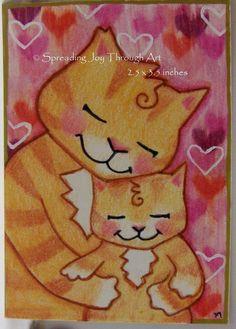 ACEO Original Joy Orange Tabby Mew Kitty Cat Baby Kitten Love Hug Mother Child  #Miniature