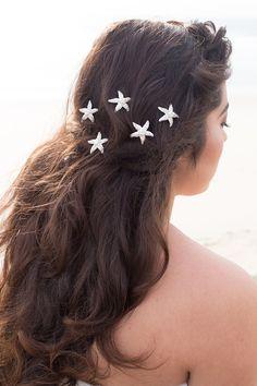 Silver Rhinestone & Pearl Starfish Beach Bridal Hair Pin Accessory ~ Sandy