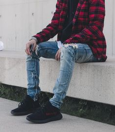 Flannel Outfits, Cool Outfits, Casual Outfits, Fashion Outfits, Urban Fashion, Mens Fashion, Yeezy Outfit, Look Man, Outfit Grid