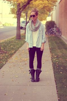 Great Fall Layers. love the rolled demin shirt, scarf, plain tee, leggings, long socks, and especially the boots! :) So simply, cozy and cute!
