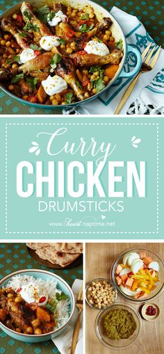 Curry Chicken Drumsticks - a simple, authentic dinner that you probably have most of the ingredients for in your pantry! It's as easy as blending the flavors in the food processor and cooking it all together. Plus, the kids will love getting their own drumstick with their rice and veggies.