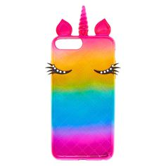 Metallic Rainbow Unicorn Protective Phone Case   Transform your phone into something beautifully magical with the help this unicorn phone case. Metallic rainbow case features a quilted pattern and 3D unicon features, including stone studded eyelashes. It's durable TPU material helps protect your phone from bumps and scratches.