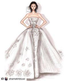 Beautiful illustrations of Rami Al Ali bridal collection created by Shamekh Bluwi Wedding Dress Sketches, Dress Design Sketches, Fashion Design Drawings, Fashion Illustration Sketches, Fashion Sketchbook, Fashion Sketches, Illustrations, Fashion Drawing Dresses, Fashion Dresses
