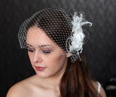 Birdcage Veil.  Ivory chic simple. Detachable Veil. Bridal hair flower - Wedding headpiece  - Flourish hair comb. $139.00, via Etsy.