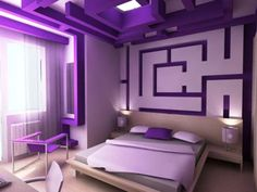 Purple Bedroom designs for girls room ideas with purple bedroom pictures.Purple bedroom ideas with purple walls in a bedroom creates purple teenage bedroom. (Except I would want my dream bedroom to be in pink. Purple Bedroom Design, Girls Bedroom Colors, Purple Bedrooms, Purple Interior, Luxury Interior, Dark Bedrooms, Bedroom Green, Interior Designing, White Bedroom