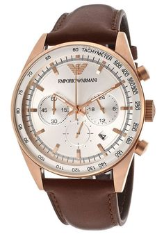Emporio Armani AR5995 Sportivo Brown Leather Chronograph Men's Watch