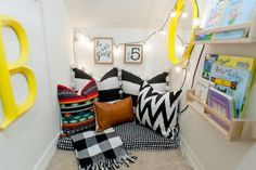 Kids Homework Hideaway, Reading Nook & Art Studio, Turn under your stairs into the perfect kids nook. Best use of space for kids. Reading Nook Closet, Closet Nook, Bedroom Reading Nooks, Reading Nook Kids, Toddler Playroom, Playroom Ideas, Toddler Rooms, Toddler Bed, Under Stairs Nook