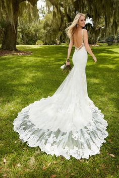 Vestido De Noiva Lace Wedding Dress 2016 V-Neck Spaghetti Straps Sleeveless Backless Court Train Sexy Lace Applique from Fungala. Saved to Epic Wishlist. #spaghettistraps #weddingdress #lace.