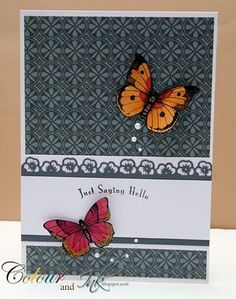 handmade card ... beautiful butterflies show up well on the dark gray patterned paper ... like the pansy border too ... Hero Arts stamps and Martha Stewart border punch ...