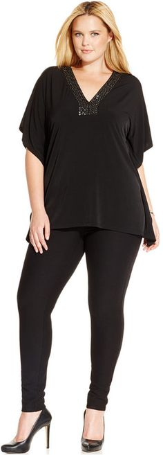 Plus Size Embellished V-Neck Tunic