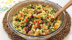 Couscous Salad Recipe (High Protein & Healthy) - YouTube Couscous Salad Recipes, Salad Dressing Recipes, Pasta Recipes, Cooking Recipes, Healthy Recipes, Delicious Recipes, Mexican Salad Recipes, Salad Sauce, Cooking Chocolate
