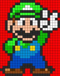 Luigi Full Body Perler Perler Bead Pattern   Bead Sprites   Characters Fuse Bead Patterns