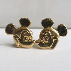 Sterling Mickey Mouse Pierced Earrings Disney Gold Plate