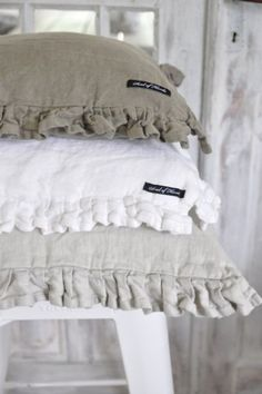 Love these neutral color ruffle pillows