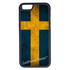 CellPowerCasesTM Sweden Flag iPhone 6 (4.7) V1 Black Case ($9.98) ❤ liked on Polyvore featuring accessories, tech accessories and black