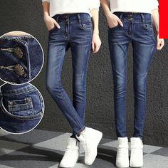 33.48$  Buy now - http://ali1s5.worldwells.pw/go.php?t=32774866786 - 2017 plus size cotton Elasticity skinny jeans woman fashion slim Pencil jeans trousers women feminino