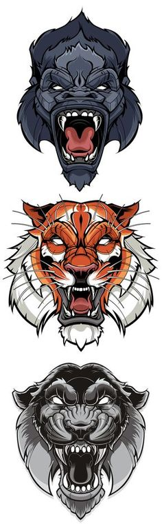 Tiger & Gorilla Vector   Sweyda, Typography, type, custom lettering, hand lettering, vector, vector illustration, action sports