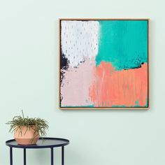 Meet Tamie our online exclusive framed painting by Sarah Brooke. Also featured is our Samso ceramic planter in blush and Ed side table in navy! #monmelbourne #art #design #painting #abstract