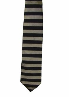 Dunhill England Mens Silver Black Striped 100% Silk Dress Neck Necktie Tie 58in #Dunhill #Tie