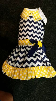 Hey, I found this really awesome Etsy listing at https://www.etsy.com/listing/204635668/yellow-navy-chevron-dog-dress-pet-dress