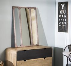 Miroir atelier verri re horizontale rectangulaire en m tal for Miroir atelier chehoma