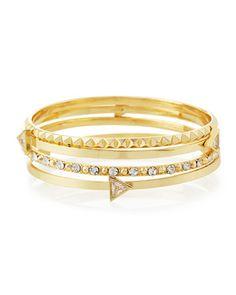 Y2R6V Lydell NYC Pyramid Stacked Crystal Cuff Bracelet