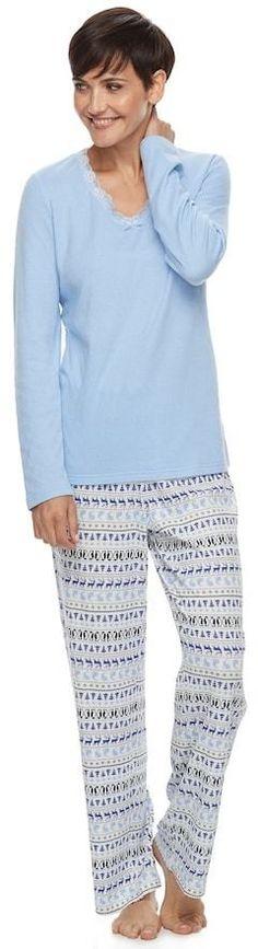 c9fc4c9ef7 Petite Croft   Barrow® Pajamas  V-Neck Sleep Top   Pants PJ Set