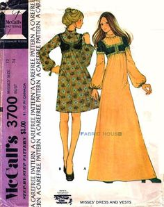 McCall's 3700 vintage sewing pattern 1970s