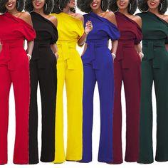 Women Vintage Shoulder Off Bandage Elegant Long Jumpsuit Rompers Party Overalls
