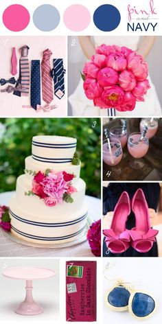 Wedding color trends Stylish Patina www.stylishpatina.com, Vintage rentals!  pink + navy wedding color palette