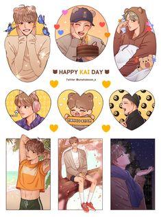 Exo Stickers, Cute Stickers, Exo Cartoon, Exo Anime, Exo Fan Art, Kpop Drawings, Kpop Fanart, Aesthetic Anime, Doodle Art