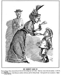 New Zealand takes its medicine, suffrage cartoon.  This cartoon shows a woman giving a boy ('Young New Zealand') medicine from a bottle labelled 'Women's Vote'.
