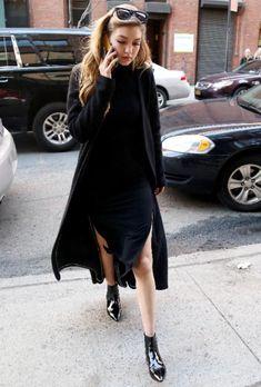 Gigi Hadid | black slit midi dress + long coat cardigan + pointed toe shiny ankle boots