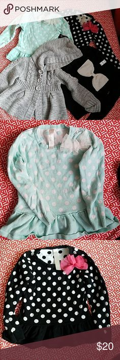 Sweater Bundle size 3t toddler girl 1. Crewneck Tiffany Blue with white polka dot and peplum bottom from Target (thin sweater) 2. Crewneck Black with white polka dot and peplum bottom from Target (thin sweater) 3. Crewneck Black sweater with white bow from Old Navy (thin sweater) 4. Gray cableknit cardigan with 3 buttons and hoodie from pumpkin patch (medium warmth)   All items in good condition Shirts & Tops