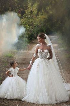 Matching Flower Girl Dresses To Bridal Dresses / http://www.deerpearlflowers.com/matching-flower-girl-dresses-to-bridal-gowns/