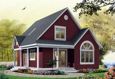 #NarrowLot #HousePlan 65394 proposes an exterior gallery over two façades and an arched window which betrays a cathedral ceiling in the living room. Inside we first notice, on the main level, the presence of a foyer at the service entrance, a bathroom with a laundry closet, a good sized bedroom and an entirely open activities sector.