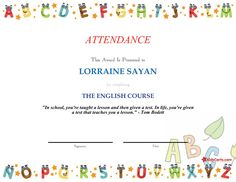 ATTENDANCE - THE ENGLISH COURSE