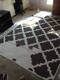 painted rug...doing this.  Mostly because I'm too cheap to spend $100+ on an area rug.